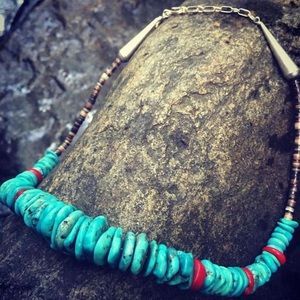 Jewelry - Santo Domingo Heshi Turquoise And Coral Necklace